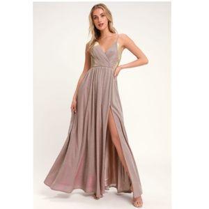 Lulu's Alnair Iridescent Blush Glitter Maxi Dress
